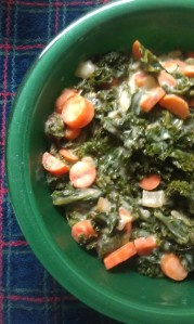 Creamed Carrots and Kale