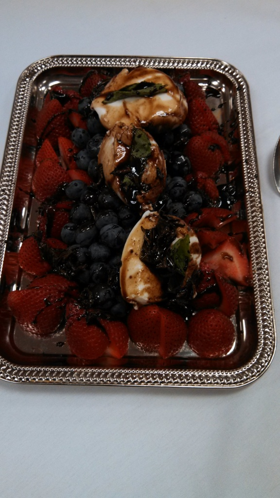 berries with balsamic-honey-mint reduction